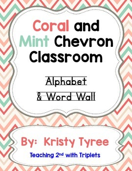 ABC and Word Wall Posters (coral and mint chevron)