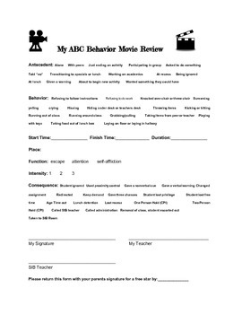Hollywood themed ABC behavior data form