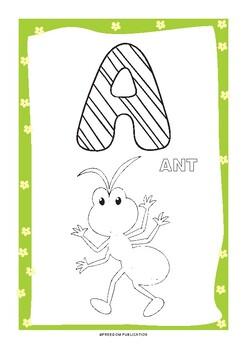 Abc Coloring Book Download Digital Printable Workbook 58 Exercise Pdf Sherten