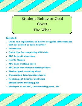 ABC data, data tracking and Goal setting with Printables for your students