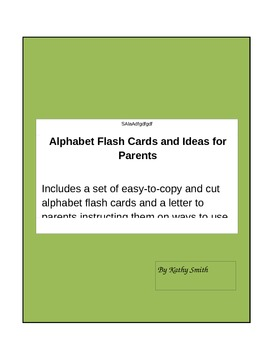 ABC flashcards and parent letter