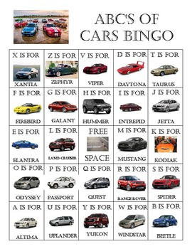 ABC of Cars Bingo and Matching Games