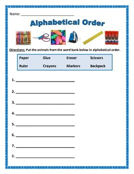 ABC or Alphabetical Order - 4 pages of 8 words.