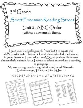 Scott Foresman Reading Street 3rd Grade U-2 ABC Order with