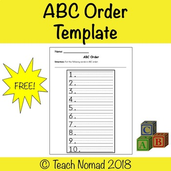 ABC order Writing Template