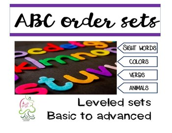 ABC order bundle 4 sets of 30 alphabetical lists in themes