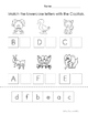 ABC order, matching beginning and ending sounds