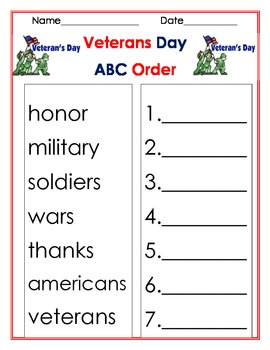 ABC order veterans day