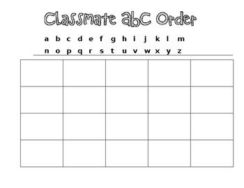 ABC order with student names * Editable*