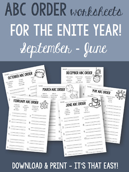 ABC order worksheets for the ENTIRE YEAR!! September through June