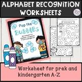 alphabet recognition activity worksheets Bingo Daubers, *NO PREP*