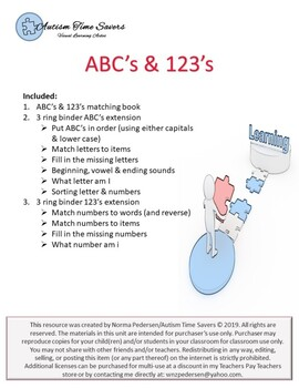 ABC's & 123's Interactive Matching Book & 3 Ring Binder