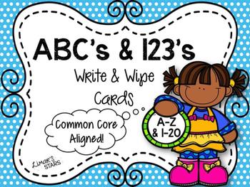 ABC's & 123's Write & Wipe Cards {NO DITTOS}