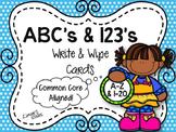 ABC's & 123's Write & Wipe Handwriting Cards {NO DITTOS}