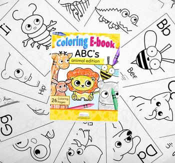 ABC's Alphabet Coloring Ebook Animal Edition by CraftyPammy