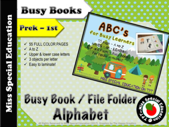 ABC's Busy Book- Cut and paste Images, Upper & Lower Case Letters-CAMPING THEME