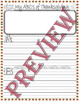 ABC's Of Thanksgiving Daily Thankful Journal Writing Lined Paper for handwriting