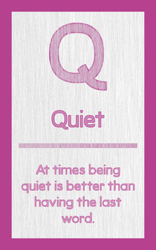 """ABC's of Character - Letter """"Q""""- Poster"""