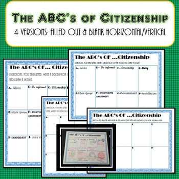 ABC's of Citizenship Worksheet- Civics & Government SS.7.C.2.2 SS.7.C.2.1