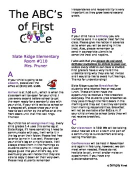 ABC's of First Grade! (Completely Editable)