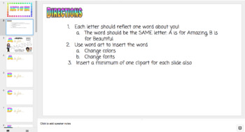 ABC's of Me Google Slides activity