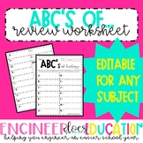 ABC's of...:Review Worksheet for any Subject