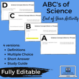 ABC's of Science End of Year Learning Friendly Activity Distance