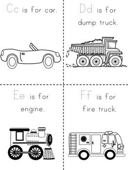 ABC's of Transportation Book (Color, B/W, 2 per page, 4 per page, Make Your Own)