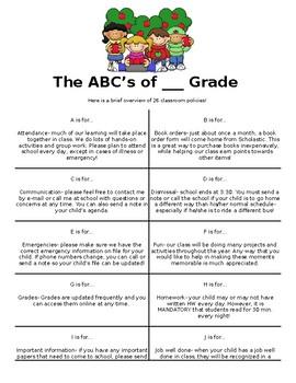 ABC's of ___ Grade