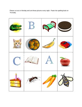 ABC word and picture sort