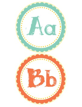 ABC word wall- teal, yellow, and red colors