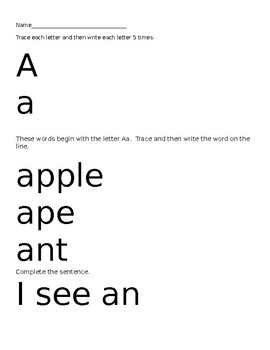 ABC writing  pages