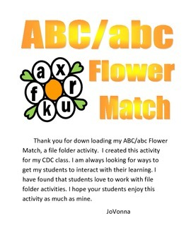 ABC/abc Flower Match File Folder Activity