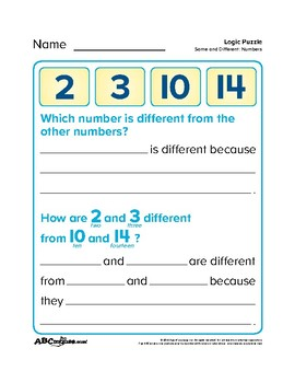 ABCmouse Logic Puzzle: Same and Different: Numbers