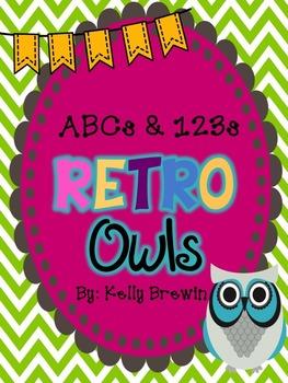 ABCs & 123s Retro Owls & Chevron Set
