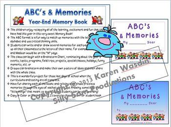 End of Year Memory Book ABC's & MEMORIES!