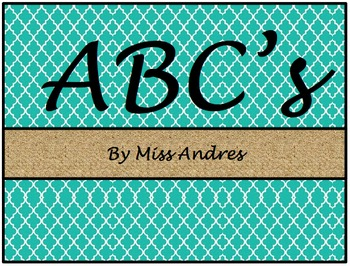 ABCs: Black, Teal and Burlap