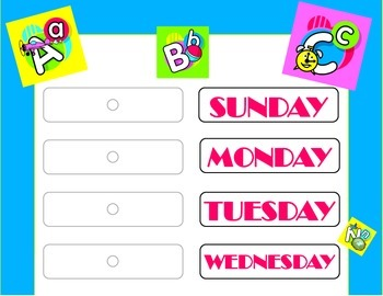 ABCs Theme Weekday Chart. ABCs Days of the Week! ABCs Classroom Bulletin!