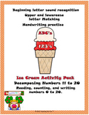 ABCs and 123s Ice Cream Activities (Math, Spelling, and Handwriting)