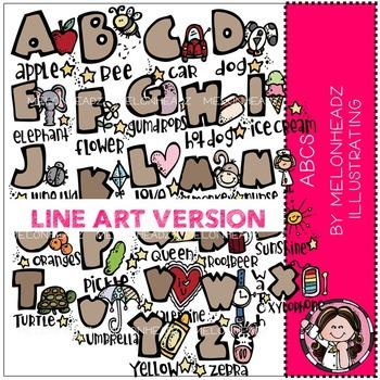 Melonheadz: ABCs clip art - LINE ART