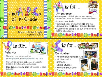 Abcs Of 1st Grade Back To School Night Powerpoint Template Tpt