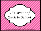 ABCs of Back to School Pink & Black Powerpoint
