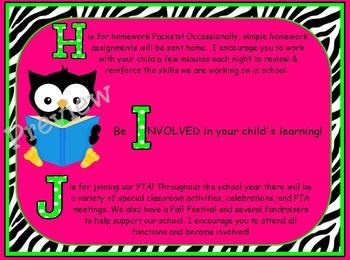 ABCs of Back to School Zebra Print Owls Powerpoint