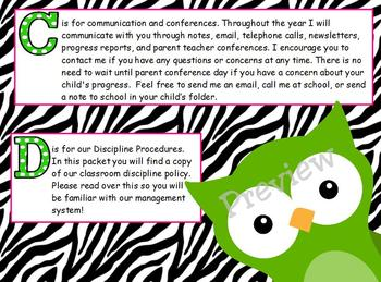 ABC's of Back to School Zebra Print Owls for ActivBoard