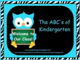 ABCs of Back to School Zebra Print and Turquoise Owls Powerpoint