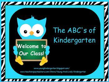 Owl powerpoint teaching resources teachers pay teachers abcs of back to school zebra print and turquoise owls powerpoint toneelgroepblik Choice Image