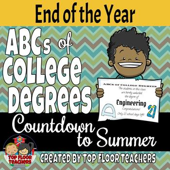ABCs of College Degrees Summer Countdown (Editable)