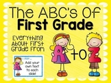 ABC's of First Grade {Editable}