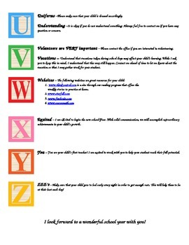 ABC's of First Grade Editable Document