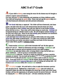 ABC's of First Grade - Parent Letter
